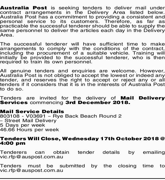 Australia Post is seeking tenders to deliver mail under contract arrangements in the Delivery Are...