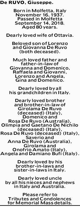 De RUVO, Giuseppe.   Born in Molfetta, Italy November 16, 1937.   Passed in Molfetta Sept...