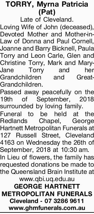 TORRY, Myrna Patricia (Pat)   Late of Cleveland.   Loving Wife of John (deceased), Devote...
