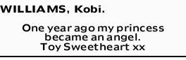 WILLIAMS, Kobi.   One year ago my princess became an angel.   Toy Sweetheart xx