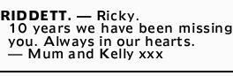 Riddett Ricky Condolences Tributes Herald Sun