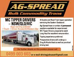 B Double and Road Train tipper operation servicing the Eastern Seaboard. Ag-Spread have a number of...