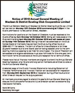 Notice of 2018 Annual General Meeting of Maclean & District Bowling Club Cooperative Limited The...