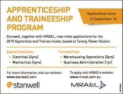 APPRENTICESHIP AND TRAINEESHIP PROGRAM Applications close: 23 September 18 Stanwell, together with M...