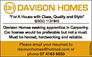 """For A House with Class, Quality and Style"" QBCC: 1131940 Please email your resumes to..."