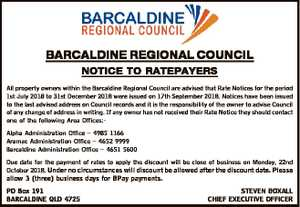BARCALDINE REGIONAL COUNCIL NOTICE TO RATEPAYERS All property owners within the Barcaldine Regional...