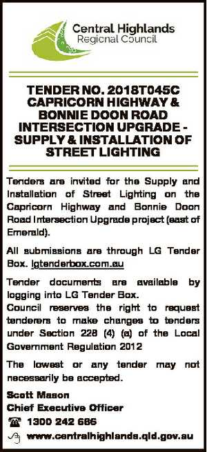 TENDER NO. 2018T045C CAPRICORN HIGHWAY & BONNIE DOON ROAD INTERSECTION UPGRADE SUPPLY &...
