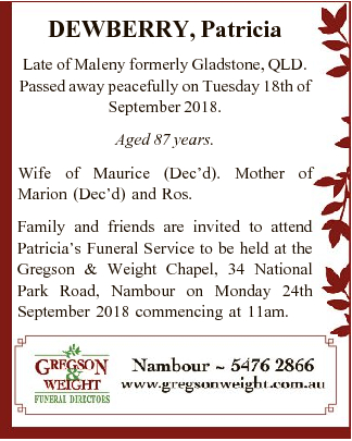 Late of Maleny formerly Gladstone, QLD. Passed away peacefully on Tuesday 18th of September 2018....