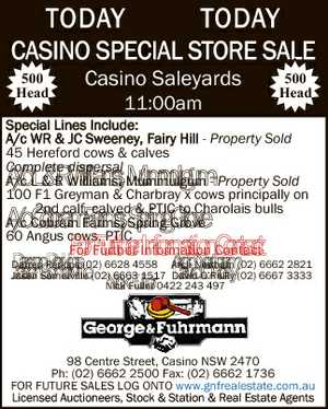 500 Head Casino Saleyards 11:00am 500 Head Special Lines Include: A/c WR & JC Sweeney, Fairy Hill ...