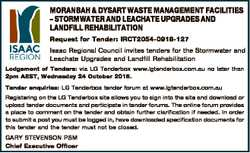 MORANBAH & DYSART WASTE MANAGEMENT FACILITIES - STORMWATER AND LEACHATE UPGRADES AND LANDFILL RE...