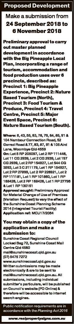 Proposed Development Make a submission from 24 September 2018 to 6 November 2018 Preliminary approva...