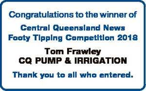 Congratulations to the winner of Central Queensland News Footy Tipping Competition 2018 Tom Frawley CQ...