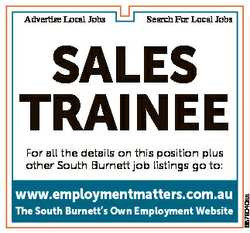 Advertise Local Jobs Search For Local Jobs SalES TrainEE www.employmentmatters.com.au The South Burn...