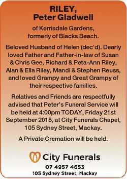 RILEY, Peter Gladwell of Kerrisdale Gardens, formerly of Blacks Beach. Beloved Husband of Helen (dec...