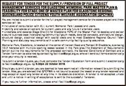REQUEST FOR TENDER FOR THE SUPPLY / PROVISION OF FULL PROJECT MANAGEMENT SERVICES FOR GLADSTONE MEMO...