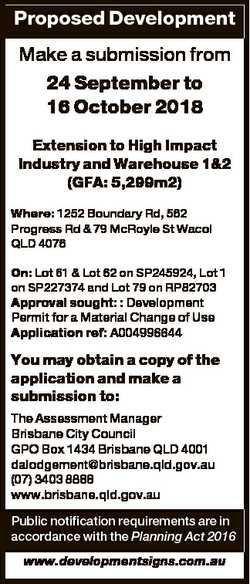 Proposed Development Make a submission from 24 September to 16 October 2018 Extension to High Impact...