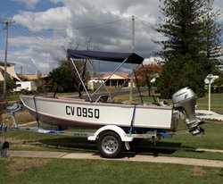 4M Hartley design boat & trailer (as new) F/F combo, canopy, spare wheel (new) 15HP Honda 4 s...
