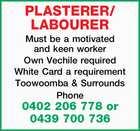PLASTERER/ LABOURER