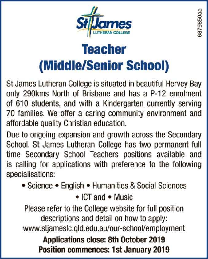 TEACHER (MIDDLE/ SENIOR SCHOOL