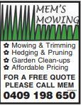 Mowing & Trimming    Hedging & Pruning  Garden Clean-Ups  Affordable Pri...