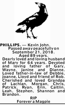 PHILLIPS.- Kevin John.   Passed away peacefully on September 21, 2018.   Aged 89 ye...