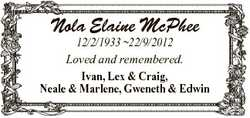 Nola Elaine McPhee 12/2/1933 22/9/2012 Loved and remembered. Ivan, Lex & Craig, Neale & Marl...
