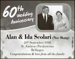 60 th Alan & Ida Scolari (Nee Sharp) 24th September 1958 St. Andrews Presbyterian Bellingen Cong...