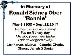 """In Memory of Ronald Sidney Ober """"Ronnie"""" May 9 1950  Sept 22 2017 Remembering you is easy..."""