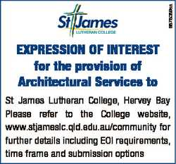 6878089aa ExprEssion of intErEst for the provision of Architectural services to St James Lutheran Co...