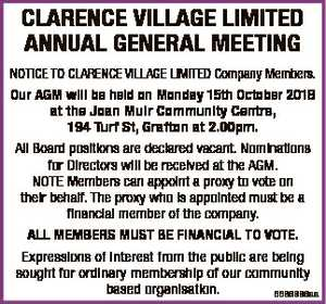 CLARENCE VILLAGE LIMITED ANNUAL GENERAL MEETING NOTICE TO CLARENCE VILLAGE LIMITED Company Members. Our...
