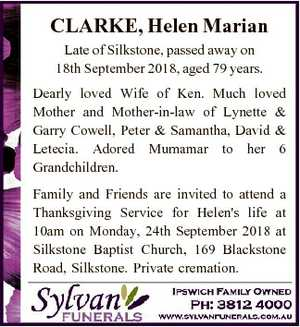 CLARKE, Helen Marian Late of Silkstone, passed away on 18th September 2018, aged 79 years. Dearly loved...