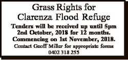 Grass Rights for Clarenza Flood Refuge Tenders will be received up until 5pm 2nd October, 2018 for 1...