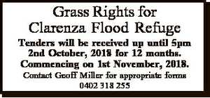 Grass Rights for Clarenza Flood Refuge Tenders will be received up until 5pm 2nd October, 2018 for 12...