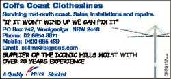 """Servicing mid-north coast. Sales, installations and repairs.   """"If it won't wind up..."""