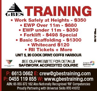 <p> TRAINING </p> <ul> <li> Work Safely at Heights - $350</li> <li> EWP Over...</li></ul>