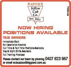 6741532aa NOW HIRING POSITIONS AVAILABLE TAXI DRIVERS Immediate Start No Experience Needed Full Time...