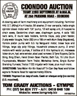 COONDOO AUCTION TODAY 22ND SEPTEMBER AT 9:00A.M. AT 250 PARSONS ROAD - COONDOO A clearing sale of fa...