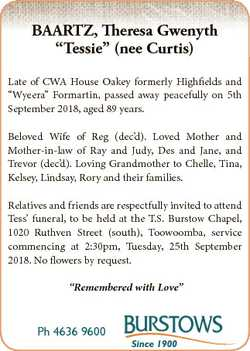 "BAARTZ, Theresa Gwenyth ""Tessie"" (nee Curtis) Late of CWA House Oakey formerly Highfields..."