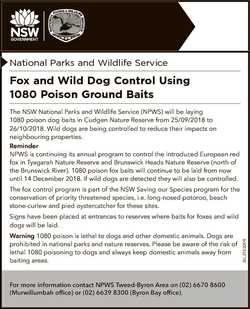 National Parks and Wildlife Service Fox and Wild Dog Control Using 1080 Poison Ground Baits The NSW...