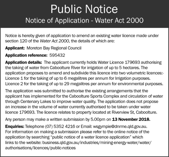 Notice is hereby given of application to amend an existing water licence made under section 120 o...