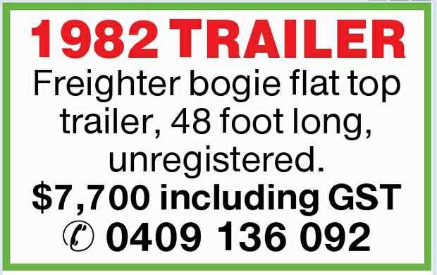 Freighter bogie flat top trailer,    48 foot long, unregistered.    $7,700 including GST...
