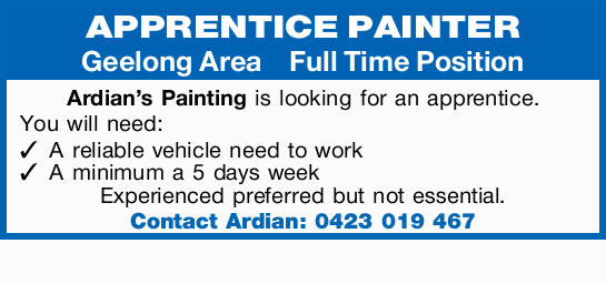 APPRENTICE PAINTER