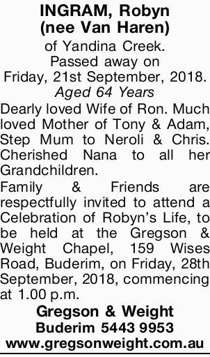 (nee Van Haren)   of Yandina Creek. Passed away on Friday, 21st September, 2018.   ...