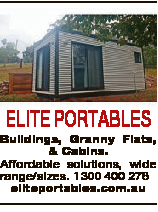 ELITE PORTABLES Buildings, Granny Flats, & Cabins. Affordable solutions, wide range/sizes. 1300 400...
