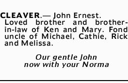 CLEAVER._ John Ernest.