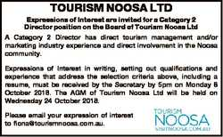 TOURISM NOOSA LTD Expressions of Interest are invited for a Category 2 Director position on the Boar...