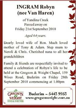 INGRAM Robyn (nee Van Haren) of Yandina Creek Passed away on Friday 21st September 2018 Aged 64 year...