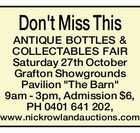 ANTIQUE BOTTLES & COLLECTABLES FAIR