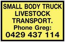 SMALL BODY TRUCK LIVESTOCK TRANSPORT.