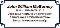John William McBurney 28/04/195226/09/2013 Deep in our hearts, you'll always stay. You are loved...